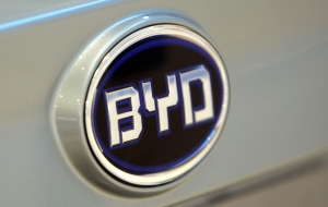 The BYD Logo Is Displayed On The S6 Dual Mode Electric Car At The 2011 NAIAS In Detroit, MI