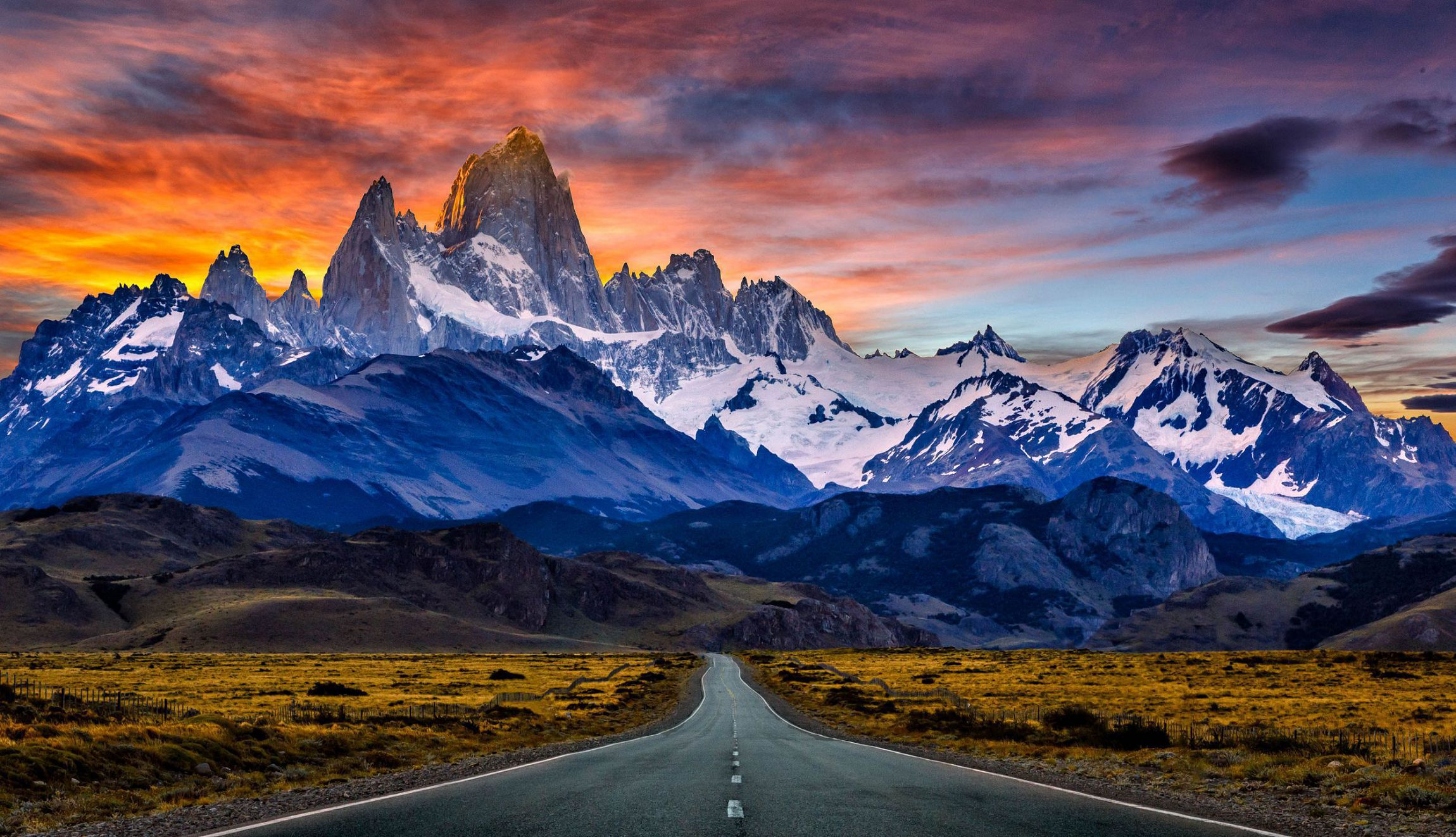 Towards Mount Fitz Roy In The Sunset