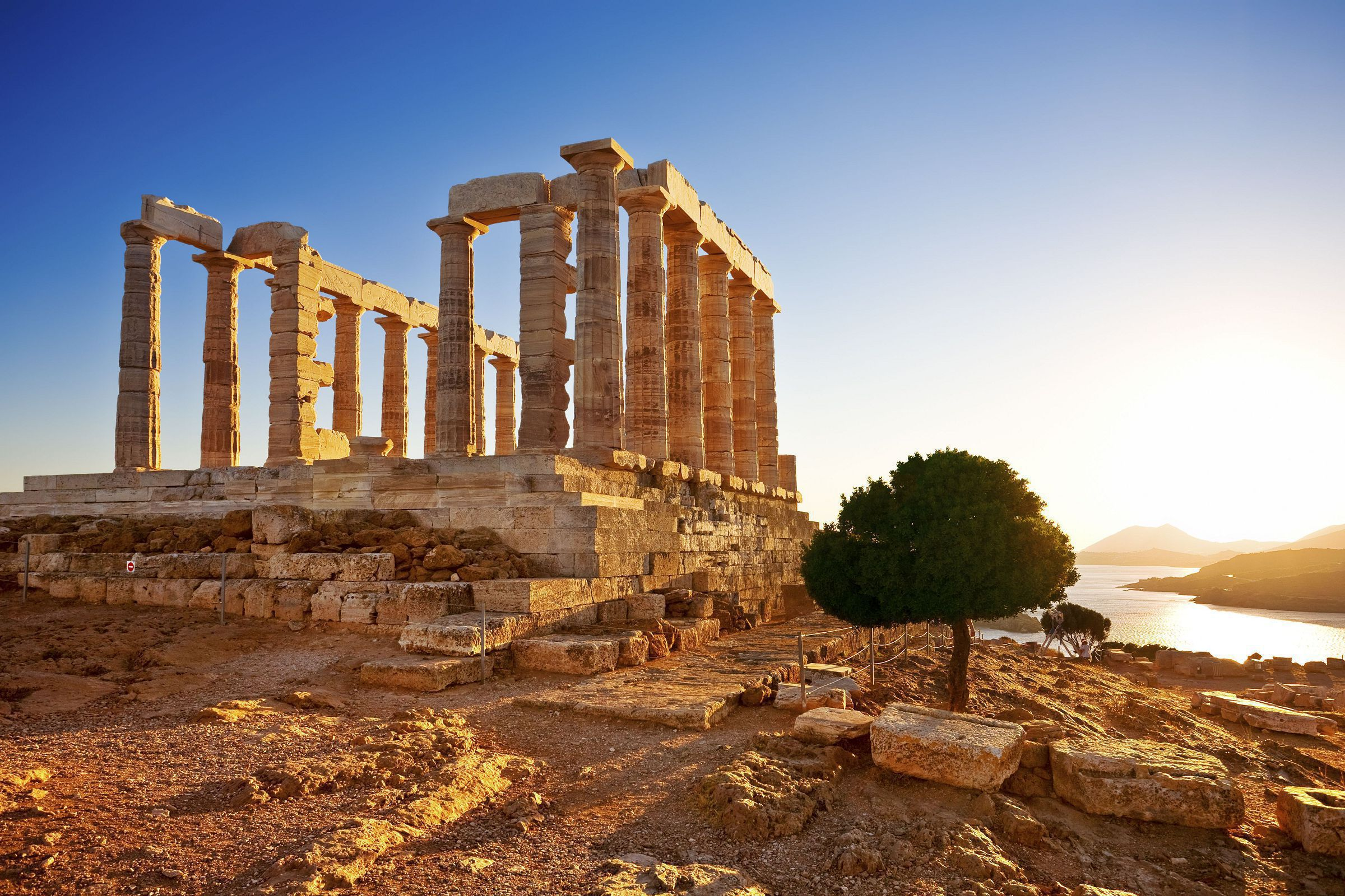 A View Of The Temple Of Poseidon At Cape Sounion, Greece